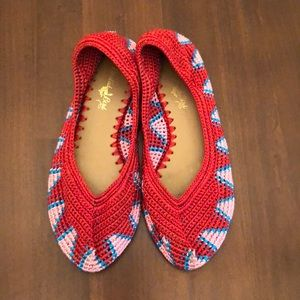 Woven red ballet slippers